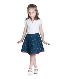 Kidofy Candy Cane Print Overlapping Skirt - Blue