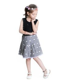 Kidofy Penguin Print Overlapping Skirt - Grey