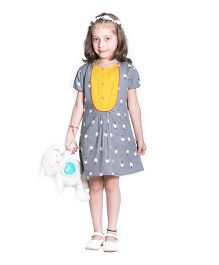 Kidofy Puff Sleeve Penguin Printed Dress - Grey
