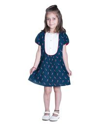 Kidofy Puff Sleeve Candy Cane Printed Dress - Blue