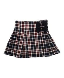 Kidofy Flannel Check Skirt With Bow - Blue