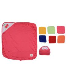 Ole Baby Gift Set Hooded Towel With Wash Clothes & Cap Cherry Design - Multi Color