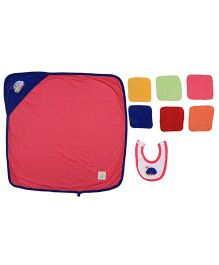 Ole Baby Gift Set Hooded Towel With Wash Clothes & Bib Car Patch - Multi Color