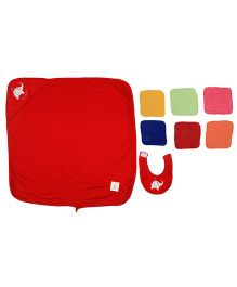Ole Baby Gift Set Hooded Towel With Wash Clothes & Bib Elephant Patch - Red & Multi Color