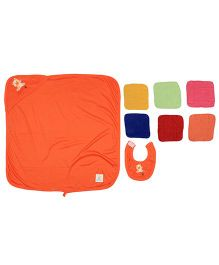 Ole Baby Gift Set Hooded Towel With Wash Clothes & Bib Bear Patch - Multi Color