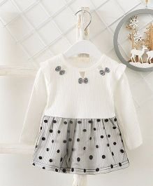 Pre Order - Superfie Dual Colored Polka Design Casual Dress - White