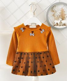 Pre Order - Superfie Dual Colored Polka Design Casual Dress - Brown