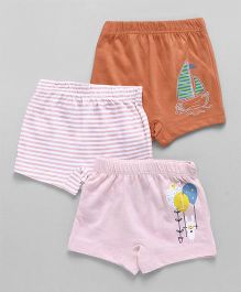 Ohms Shorts Pack of 3 - Brown & Pink