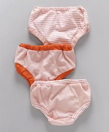 Ohms Panties Stripes Print Pack of 3 - Peach