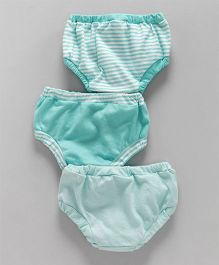 Ohms Panties Stripes Print Pack of 3 - Sea Green