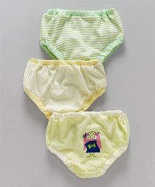 Ohms Panties Stripes Print Pack of 3 - Green & Yellow
