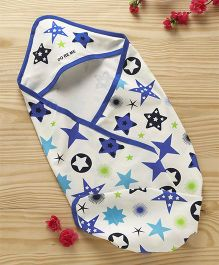 Doreme Cotton Hooded Wrapper Star Print - White Blue
