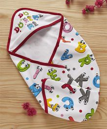 Doreme Cotton Hooded Wrapper Alphabet Print - White Red