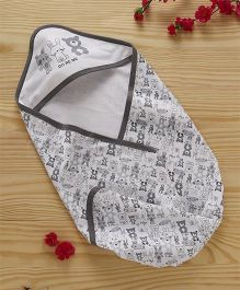 Doreme Cotton Hooded Wrapper Animal Print - White Grey