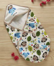 Doreme Cotton Hooded Wrapper Jungle Print - White Brown