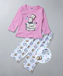 Doreme Full Sleeves Night Suit Toaster Print - Pink & White