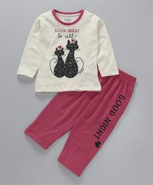 Doreme Full Sleeves Night Suit Kitty Print - Cream & Dark Pink