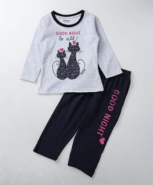 Doreme Full Sleeves Night Suit Kitty Print - Grey Navy