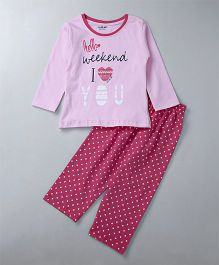 Doreme Full Sleeves Night Suit Hello Weekend Print - Pink