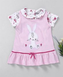 Doreme Frock With Inner Top Bunny Patch - Light Pink