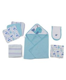 Owen Starter Gift Set Cute Fish Print 7 Pieces - Blue
