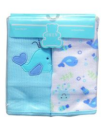 Owen Thermal Blankets Fish Print Pack of 2 - Blue