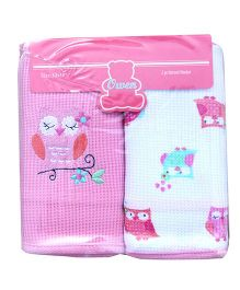 Owen Thermal Blankets Owl Print Pack of 2 - Pink