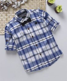Jash Kids Full Sleeves  Check Shirt With Bow - White Royal Blue
