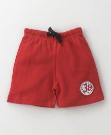 Babyhug Knitted Shorts With Drawstrings - Red