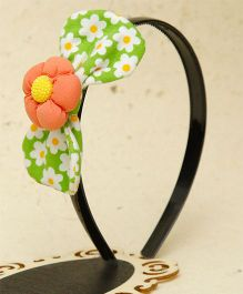 D'chica Big Bow & Flower Hairband - Green & Peach