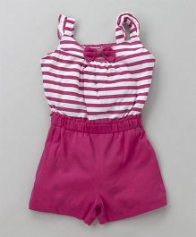 Babyhug Sleeveless Knitted Jumpsuit Striped Print - Dark Pink