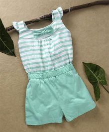 Babyhug Sleeveless Knitted Jumpsuit Striped Print - Aqua Green