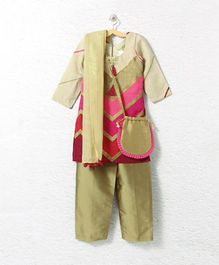 Lilpicks Couture Elegant Kurta Pajama Suit With Sling Bag - Beige