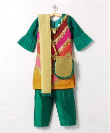 Lilpicks Couture Elegant Kurta Pajama Suit With Sling Bag - Green