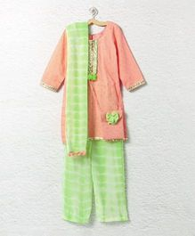 Lilpicks Couture Tie N Dye Ethnic Suit With Sling Bag - Peach