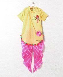 Lilpicks Couture Smart Kurta With Tie And Dye Pajama With Sling Bag - Yellow