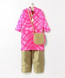 Lilpicks Couture Tie N Dye Kurta With Pajama Pants With Sling Bag - Pink