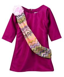 Lilpicks Couture Smart Kurta With Attached Dupatta - Purple