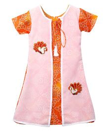 Lilpicks Couture Bandhani Kurta With Attached Jacket - Orange