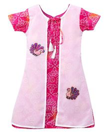 Lilpicks Couture Ethnic Bandhani Kurta With Attached Jacket - Magenta