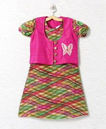 Lilpicks Couture All Over Print Kurta With Jacket - Magenta