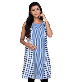 Kriti Sleeveless Maternity Nursing Kurti - Blue & White