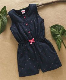 Babyhug Sleeveless Jumpsuit With Bow Applique - Navy Blue