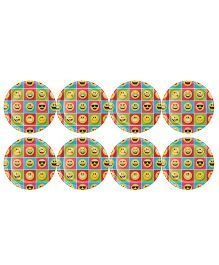 Celebration Essentials Paper Plate Emoji Print Pack of 8 - Multi Color
