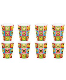 Celebration Essentials Paper Cups Emoticon Design Pack of 8 - Multicolor