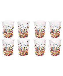 Celebration Essentials Paper Cups Sprinkle Design Pack of 8 - Multicolor