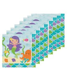 Celebration Essentials Luncheon Napkins Mermaid Design Pack of 16 - Blue