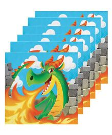 Celebration Essentials Luncheon Napkins Dragon Design Pack of 16 - Blue Green
