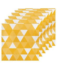 Celebration Essentials Luncheon Napkins Triangle Fractal Design Pack of 16 - Yellow