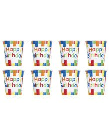 Celebration Essentials Paper Cups Building Block Design Pack of 8 - Multicolor